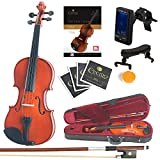 Mendini Full Size 4/4 MV200 Solid Wood Violin with Tuner, Lesson Book, Extra Strings, Shoulder Rest, Bow and Case, Natural Varnish Finish