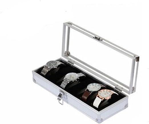 Revesun - Caja de relojes para 6 relojes, aluminio, para hombre, 6 slots: Amazon.es: Relojes