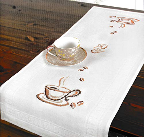 Printed Stamped Cross Stitch Table Runner Kit for Embroidery (Coffee Cup 6938)