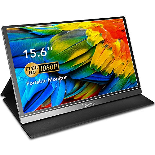 Portable Monitor - Lepow 15.6 Inch Computer Display 1920×1080 Full HD IPS Screen USB C Gaming Monitor with Type-C Mini HDMI for Laptop PC MAC Phone Xbox PS4, Include Smart Cover & Screen Protector (Mini Dell Laptop Battery)