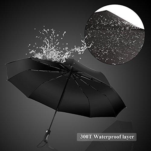 Punming Umbrella,Windproof Compact Travel Umbrella 60MPH/300T Auto Open Close Folding Umbrella (Black) by Punming (Image #4)