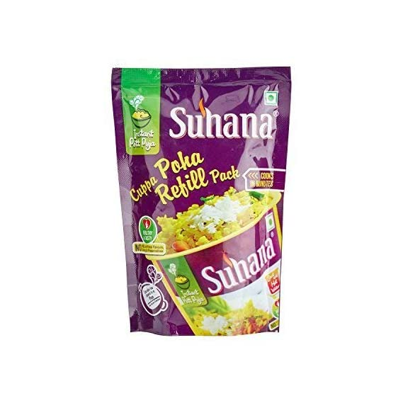 Suhana Cuppa Poha Refill Pouch Ready to Eat Instant Breakfast - Pack of 12