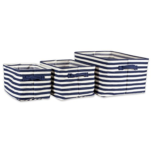 DII Cabana Stripe Collapsible Waterproof Coated Anti-mold Cotton Rectangle Basket Bin, Perfect For Laundry Room, Bedroom, Nursery, Dorm, Closet, and Home Organization, Assorted Set of 3 - French Blue (Nursery Three Baskets Blue)
