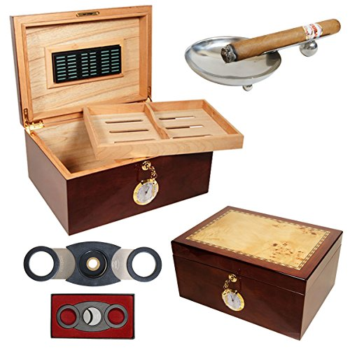 Set Gift Humidor Culture 100 Cigars/Perfect Cutter/Ashtray / Humsol (Crafters Cuban Humidor)