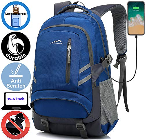 Backpack Bookbag for School Student College Business Travel with USB Charging Port Fit Laptop Up to 15.6 Inch Night Light Reflective Anti Theft (Dark Blue)