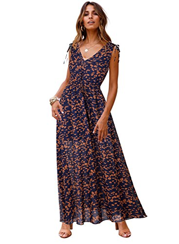 Midi Down Spaghetti Jelly Womens V Summer Dress Neck Button Floral Deep Boho Strap Lace Blue Blooming UOPqS