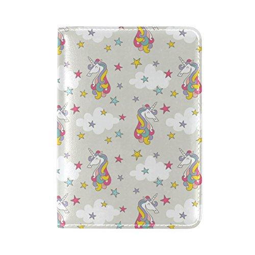 Coosun farbige Einhorn mit Sternen Muster Leder Passhülle Cover für Reisen eine Tasche