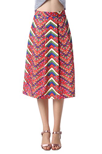 Foshow Womens Midi Skirt Knee Length Floral Pleated Flared Vintage Summer High Waist Boho Skirts by Foshow
