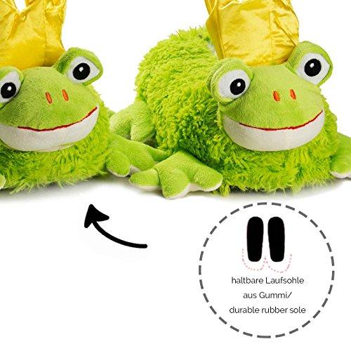 funslippers Pantofole di peluche animali figurine donna uomo adulti e bamibini ranocchio verde corona d'oro