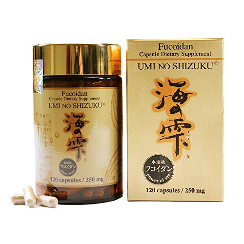 Natural Seaweed Brown (Umi no Shizuku Premium Fucoidan from Japan Pure Brown Seaweed Extract Optimized Immunity Health Supplement Enhanced with Agaricus Mushroom mycelium-120 Capsules)