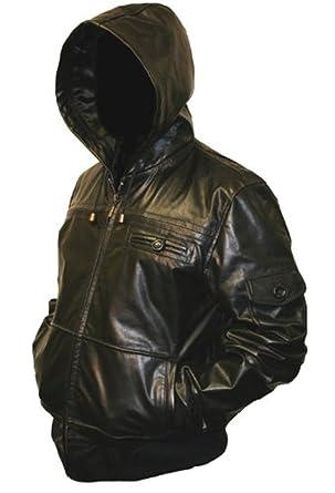 Mens Black Hooded Hoody Real Leather Jacket: Amazon.co.uk: Clothing