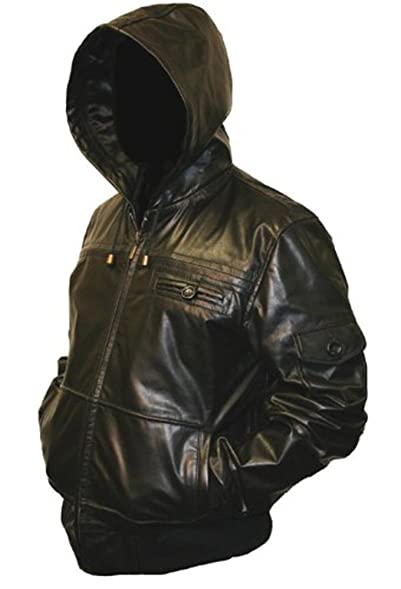 Mens Black Hooded Hoody Real Leather Jacket: Amazon.co.uk: Clothing