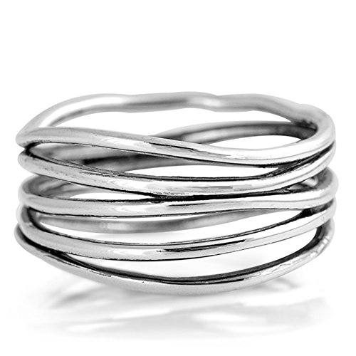Abstract Design Ring - Oxidized Stacked Bar Knot Wide Wedding Ring New 925 Sterling Silver Open Band Size 8