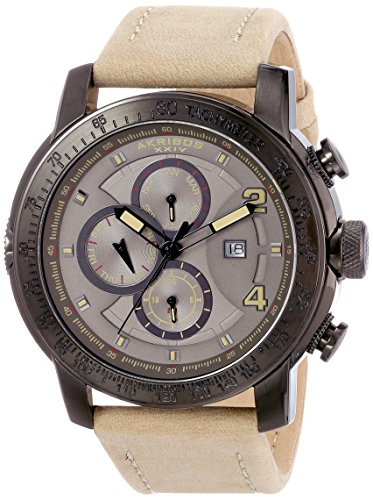 Akribos XXIV Men's AK743TN Explorer Gunmetal-Tone Stainless Steel Watch with Leather Band