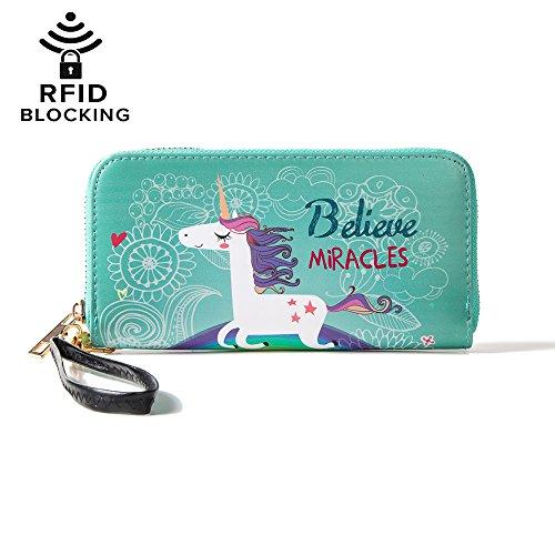 MISS FANTASY Women RFID Blocking Wallet Ladies Unicorn Print Zip Around Wallet Clutch Purse with Wristlet (Unicorn green)