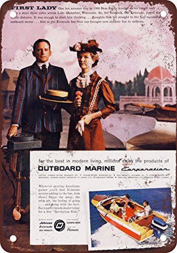 1957 Evinrude Boat Motors Vintage Look Reproduction Metal Tin Sign 12X18 Inches 2