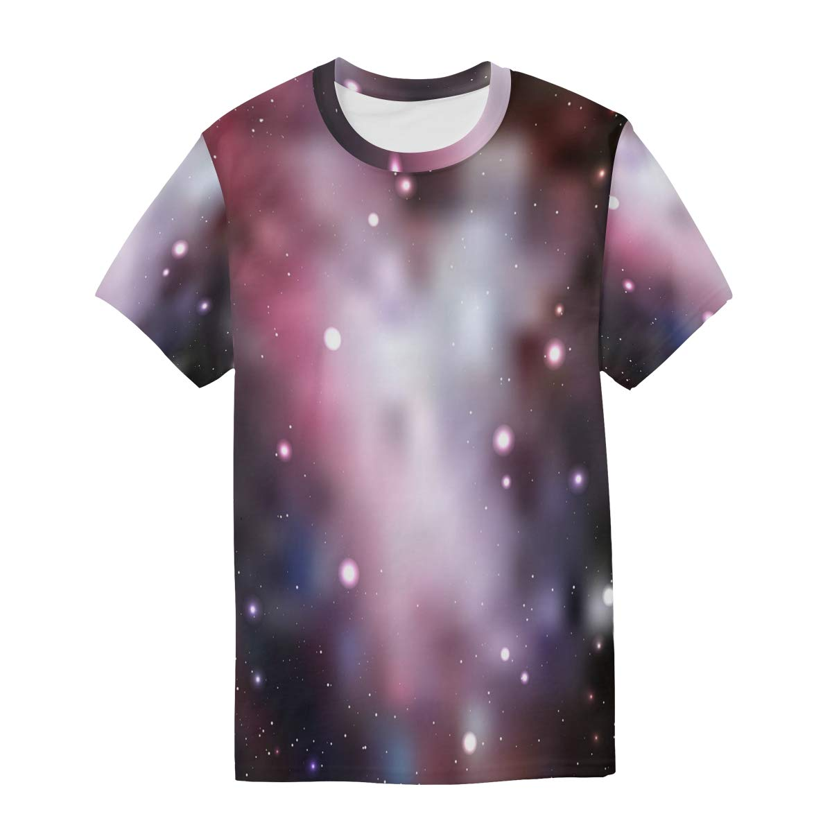 Psychedelic Pink Starry Sky Mens T Shirts Graphic Funny Body Print Short T-Shirt Unisex Pullover Blouse