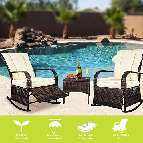 (ENSTVER Set of 2 Indoor & Outdoor Reclining Chair-Porch Garden Lawn Deck Wicker Rocke Chair-Auto Adjustable Rattan Sofa w/Cushion (Beige-White Cushion))
