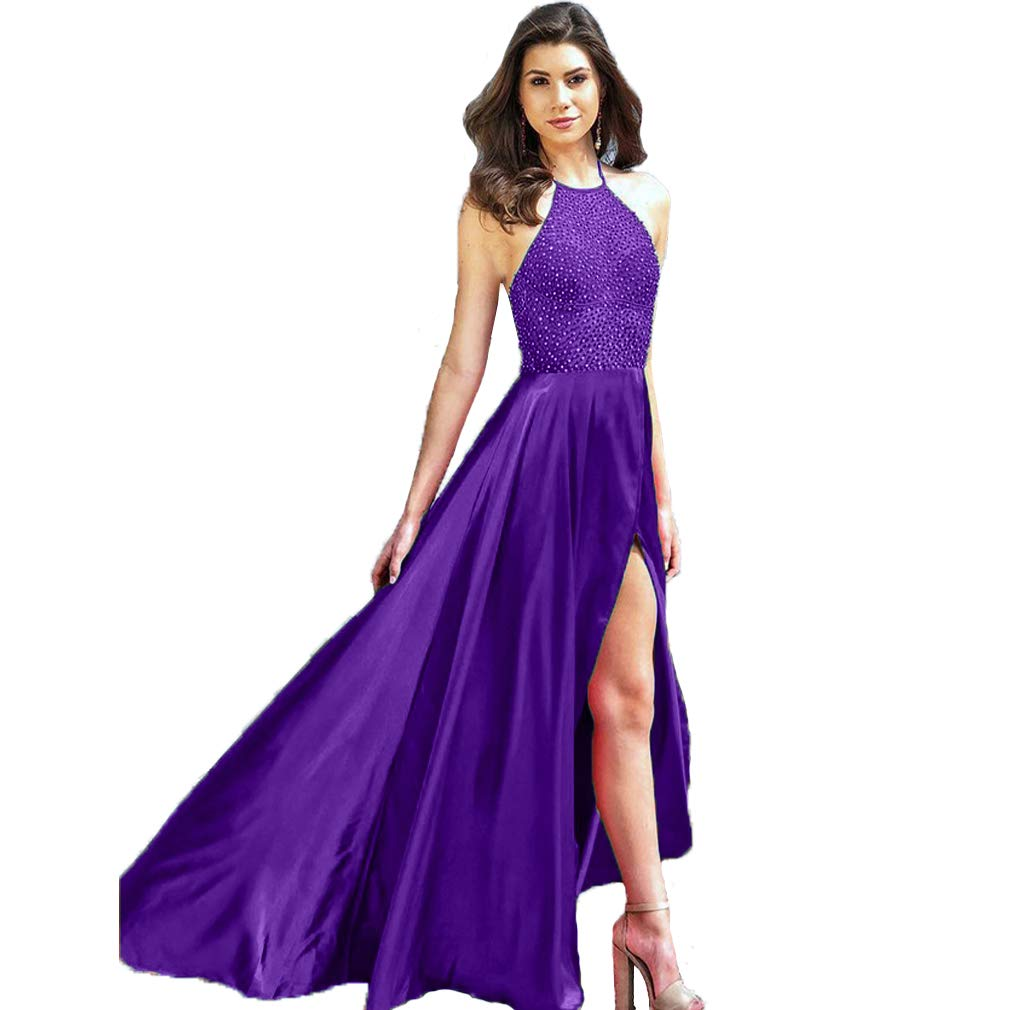 Royal Purple Fashionbride Women's Halter Backless Beaded Formal Party Gown Front Slit Long Prom Dress