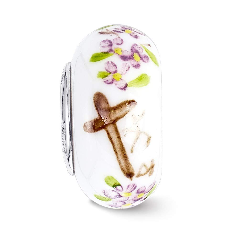 14.9mm x 14.9mm Solid 925 Sterling Silver Reflections Hand Paint How Great Thou Art Fenton Glass Bead