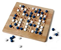 Tic-tac-ku Solid Wood Game (Bluewhite) By Mad Cave Bird Games