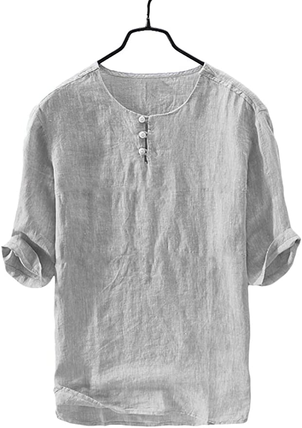 INCERUN Men/'s Linen V Neck Tops Summer Beach 3//4 Sleeve Causal Yoga T Shirt Tee