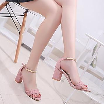 LGK & FA Sommer Damen Sandalen Sommer mit Ferse und Zehen Sandalen Rutschfest Schuhe für Frauen 46 rose W7T7Z