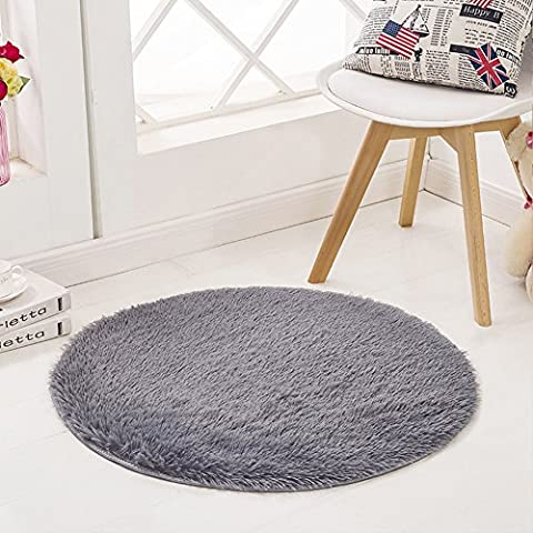 SANMU Super Soft Indoor Modern round Rugs New Arrival Fashion Color for Girls living Room, Bedroom , Parlor Fluffy Silky Smooth Rugs, Mats, round shag rug, Footcloth for Home Decorate. 4 Feet (Gray And Pink Round Rug)