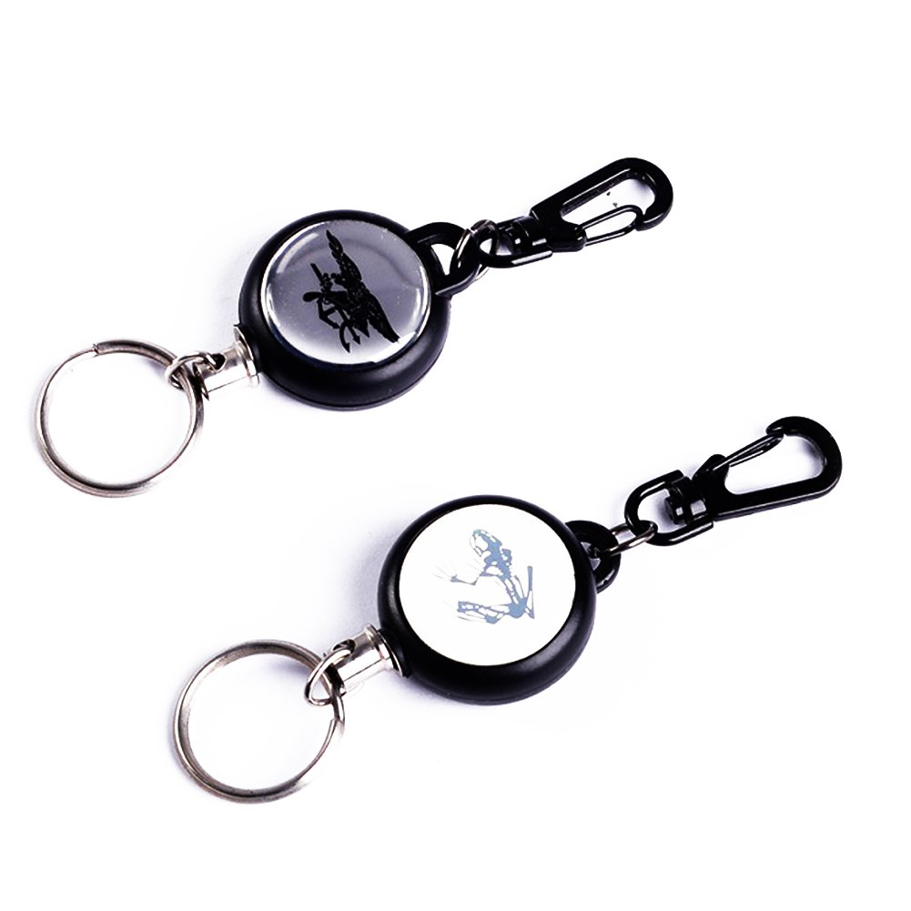 Retractable Key Chain with Steel Cord and Clip Multiple Styles Pack of 5