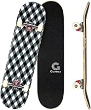 Gonex 31 x 8 Inch Complete Skateboard, 9 Layer Maple Deck Double Kick Deck Concave Cruiser Skateboard for Boys