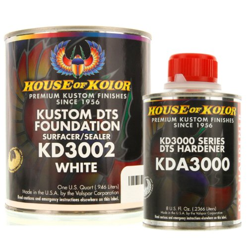 House of Kolor QUART KIT WHITE Color KD3000 DTS Surfacer / Sealer w/ Hardener (Kolor Primer House Of)