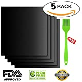 Hokia Grill Mat Set of 5 Pieces with BBQ Brush, BBQ Mats Baking Mats Non stick FDA Approved, PFOA Free Reusable and Easy to Clean Works on Gas Charcoal Electric Grill Size 15.8 x 13 Inch