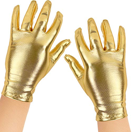 Skeleteen Metallic Gold Costume Gloves - Shiny