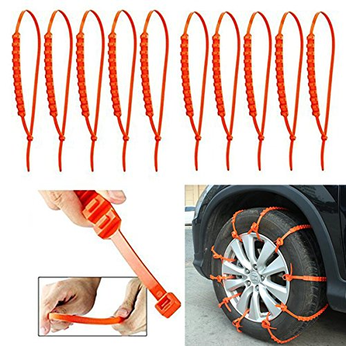 Nylon 66 Material Emergency Traction Aid Wear-Resistant Rubber Chains (10 PCS)