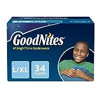 Ropa interior para mojar la cama para niños GoodNites, L-XL, 34 Ct. (El empaque puede variar)