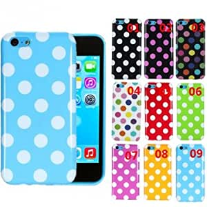 Colorful TPU Polka Dot Rubber Skin Gel Case Cover For iPhone 5C --- Color:09