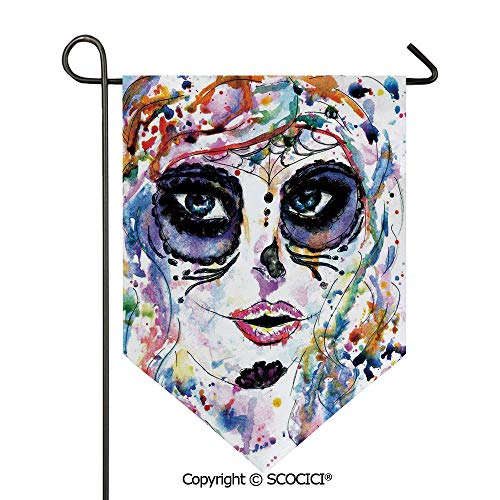 SCOCICI Easy Clean Durable Charming 12x18.5in Garden Flag Halloween Girl with Sugar Skull Makeup Watercolor Painting Style Creepy Decorative,Multicolor Double Sided Printed,Flag Pole NOT Included]()