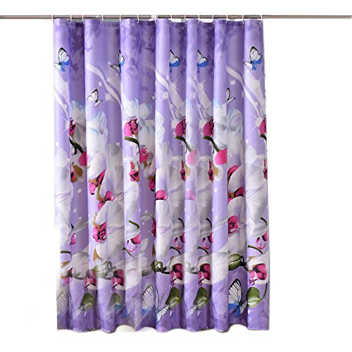 Sfoothome Purple Background And Butterfly Flowers Printed Pattern No More Mildew Waterproof Polyester Fabric