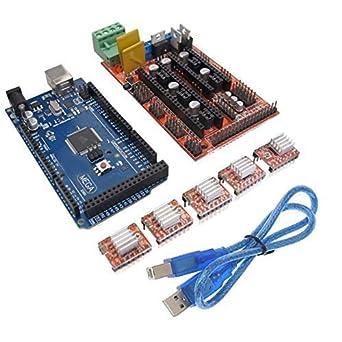 Wangdd22 RAMPS 1.4 REPRAP 3D Printer Controller and Mega2560 R3(Arduino Compatible) with 5pcs A4988 Stepper Driver Module for 3D Printer RepRap