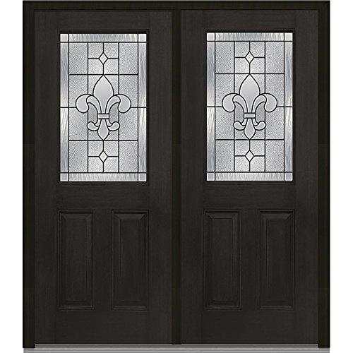Entry Mahogany (National Door Company ZA07511R Fiberglass Mahogany Prehung In-Swing Entry Double Door, Carrollton Decorative Glass, 1/2 Lite, 2-Panel, Espresso, Right Hand, 64