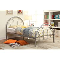 Furniture of America Andy Metal Youth Bed, Silver, Full