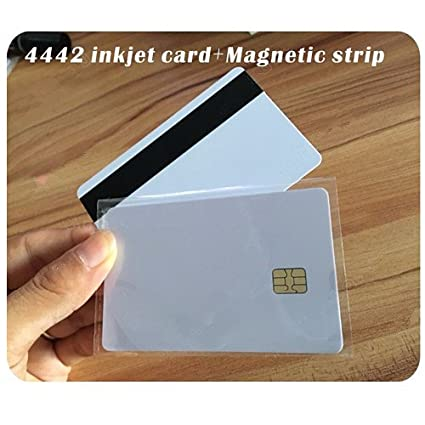 100 Tarjetas de impresión SLE4442 con Rayas magnéticas Hi-Co ...
