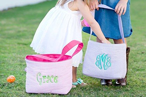 Seersucker Easter Bucket - Monogrammed Easter Bucket - Personalized Easter Basket - Easter Basket - Easter Bag - Custom Easter Basket