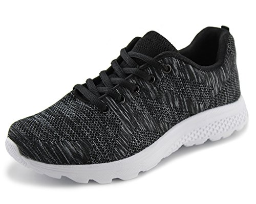 (Jabasic Women's Breathable Knit Sports Running Shoes Casual Walking Sneaker (8 B(M) US, Black/White-1))