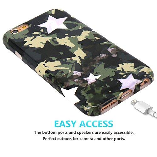 Coque iPhone 6 6S, JIAXIUFEN Silicone TPU Étui Housse Souple Antichoc Protecteur Cover Case - Vert Star Camouflage Camo Désign