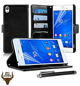 Stylish Protective 100% REAL GENUINE COW LEATHER FLIP CASE POUCH COVER CARD HOLDER WALLET HOLSTER FOR SONY XPERIA Z3 + Includes STYLUS PEN + SCREEN PROTECTOR (BLACK), [Importado de UK]
