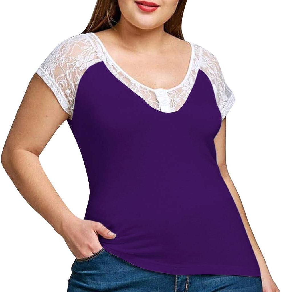 LRWEY Camisetas para Mujer, Camiseta de Encaje de Manga Corta con ...