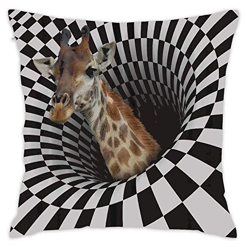 Rng Big Giraffe On Optical Illusions Coloring Pages Throw Pillow Cover 18 x 18 Inch Cotton Linen for Sofa ()