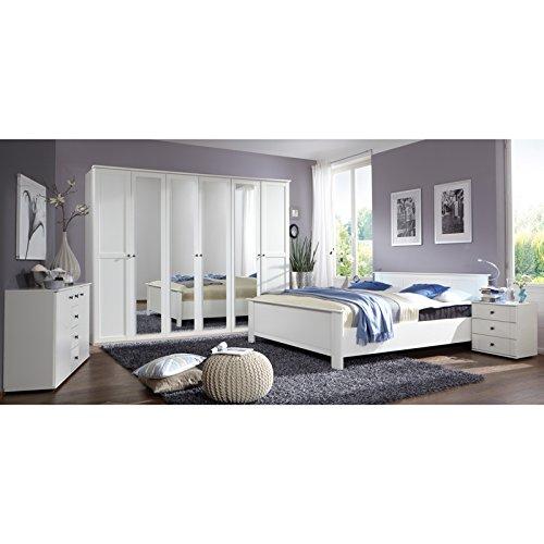 Landhaus Schlafzimmer Set wei 180cm Bett Kleiderschrank Nachtschrank Kommode