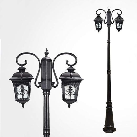 Farola negra Faros de 2 llamas Camino de hierro fundido y vidrio Candelabro de corte Linterna de jardín Lámpara de exterior Vintage E27 Lámpara de jardín de 230CM: Amazon.es: Iluminación
